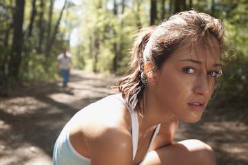 Hispanic woman on nature trail
