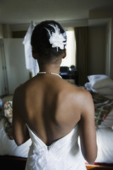 Back of African bride's wedding dress