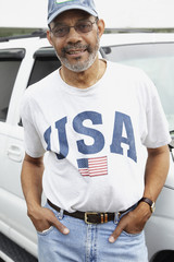 African man with USA t-shirt