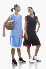 Mixed race women basketball players