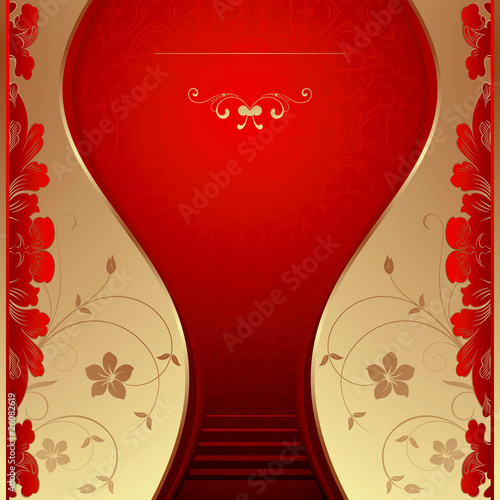 Gold and Red Floral Background