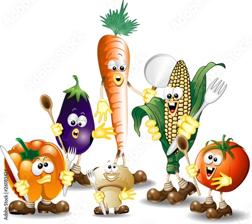 Verdure Miste Cartoon-Humorous Mixed Vegetables-Vector