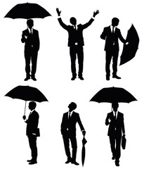 Businessman and an umbrella.