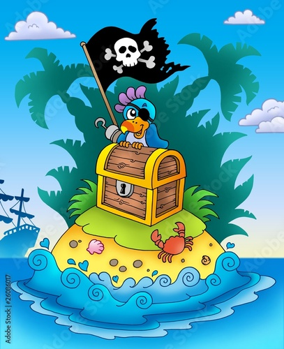 Papiers peints Pirates Small island with chest and parrot