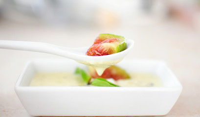 Fresh fig with cheese sauce