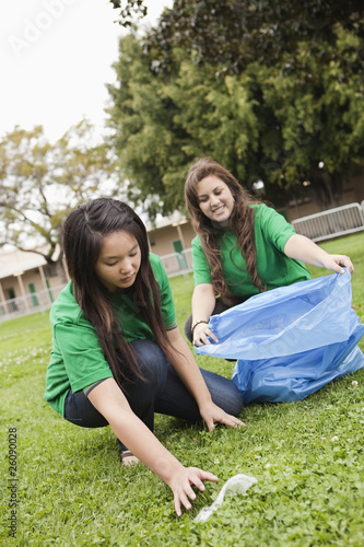 Students picking litter on school grounds