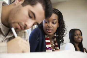 Student copying off classmateÕs paper