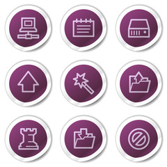 Data web icons, purple stickers series
