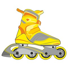 fully editable vector illustration of isolated roller skates