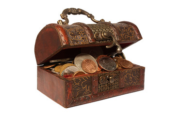 Wooden chest with coins