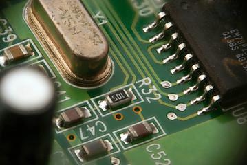Part of PCB printed-circuit board macro closeup