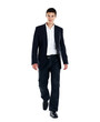 Smart young businessman walking on white