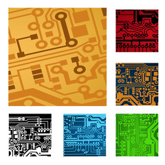 set of circuit board parts, vector