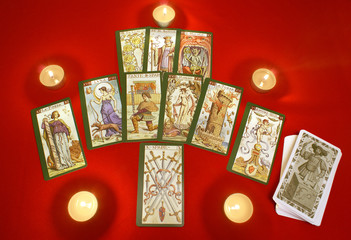 Tarot cards with candles