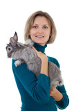 Young female holding her beloved grey rabbit in hands poster