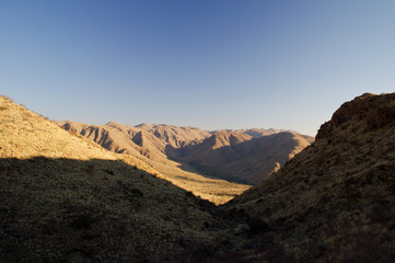 Great view in Namibia, looking at lonely mountains