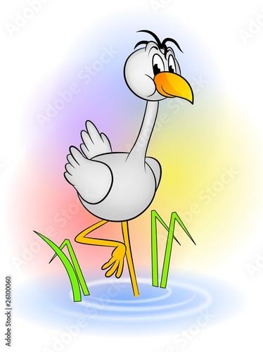 An illustration of cute crane bird cartoon