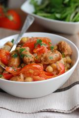 Chorizo and red pepper hotpot