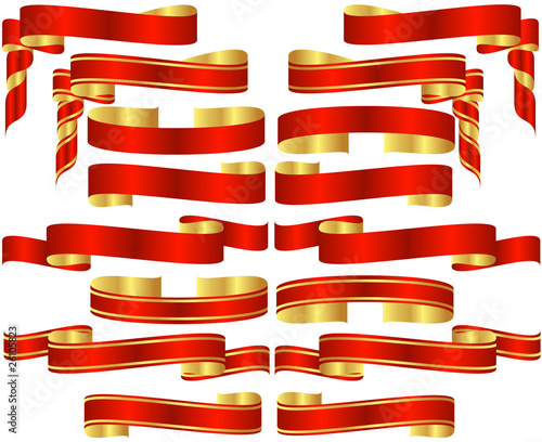 Set of Red Banner Scrolls with Golden Accents - 26105823