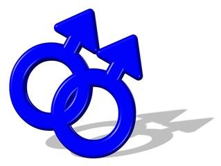 3D Gay Ehe blau