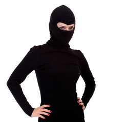 female thief in black  balaclava with red nails