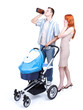 young parents with baby  buggy, father drinking alcohol