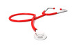 Red stethoscope isolated on white