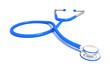 Leinwandbild Motiv Blue stethoscope isolated on white