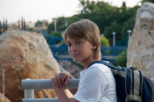 Boy with a backpack.