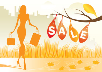 autumn background with shopping woman