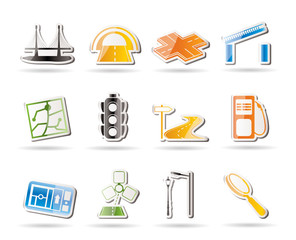 Simple Road, navigation and travel icons - vector icon set