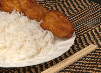 White Rice with Oriental Chicken