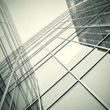 modern glass skyscraper perspective view poster