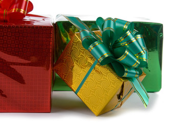 Multi-colored boxes with presents