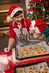 Mum and son tasting christmas cake