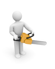 Person hold chainsaw