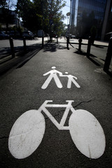Pedestrians and bike
