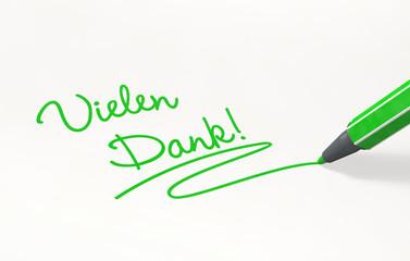 Vielen Dank!  per Hand geschrieben, grün