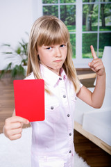 girl with the red card