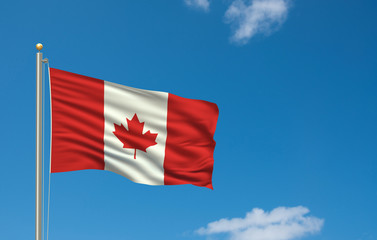 Flag of Canada waving in the wind in front of blue sky