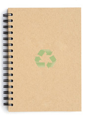 Recycle notebook with recycle symbol