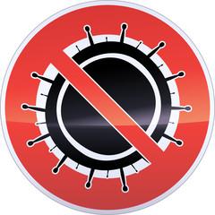 Panneau d'interdiction des virus (métal détouré)