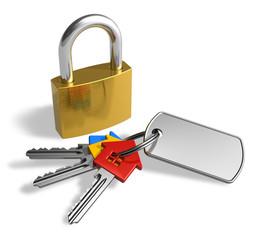 Padlock with bunch of keys