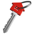 Red house-shape key