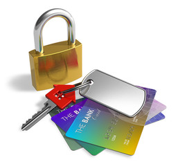 Padlock, key and credit cards