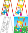 Swinging girl in a playground