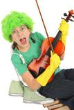 Humour jeunesse, enfant joue du violon poster