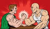 Muscle men arm wrestling. poster