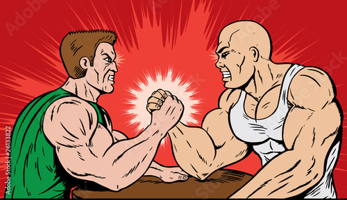 Muscle men arm wrestling.