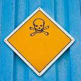 Skull and crossbones warning sign poster
